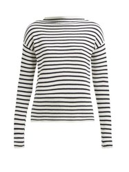 Allude Boat Neck Striped Cotton Sweater Navy Stripe
