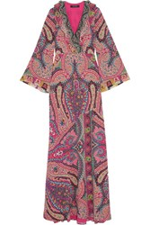 Etro Sequin Embellished Paisley Print Silk Gown Pink