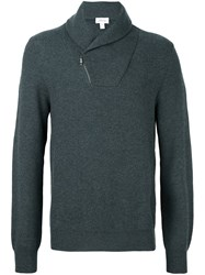 Brioni Zipped Neck Detail Pullover Green