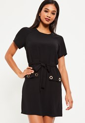 Missguided Black Eyelet Detail Tie Shift Dress