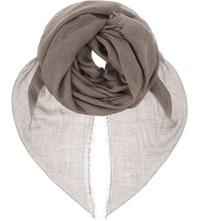 Jane Carr Sheer Fray Cashmere Scarf Taupe