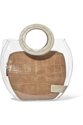 Staud Frida Pvc And Croc Effect Leather Tote Beige