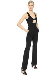 David Koma Buckled Stretch Wool Crepe Jumpsuit