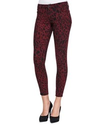 Cj By Cookie Johnson Wisdom Leopard Print Skinny Ankle Jeans Wine