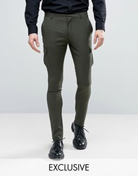 Heart And Dagger Skinny Smart Cargo Trousers Khaki Green