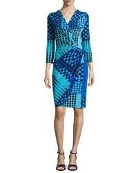 Natori Geometric Print Faux Wrap Dress Peacock Blue