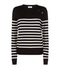 Saint Laurent Striped Crew Neck Sweater Nude