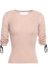 Red Valentino Redvalentino Woman Point D'esprit Trimmed Cashmere And Silk Blend Sweater Blush