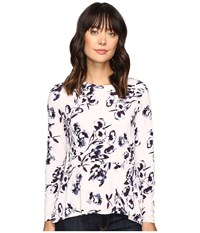 Ivanka Trump Long Sleeve Printed Peplum Top Lilac Navy Women's Long Sleeve Pullover Purple