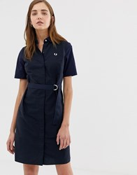 Fred Perry Belted Shirt Dress Navy