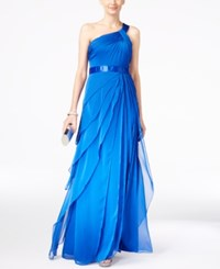 Adrianna Papell One Shoulder Tiered Chiffon Gown Royal