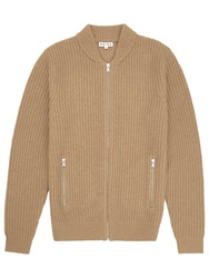 Reiss Highway Ribbed Zip Cardigan Oatmeal