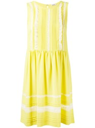 P.A.R.O.S.H. Sleeveless Sun Dress Women Silk Cotton Nylon Acetate Xs Yellow Orange