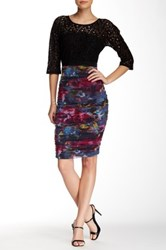 Weston Wear Time Lace And Ruched Print Dress Multi