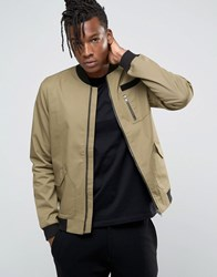 Only And Sons Bomber Jacket With Military Detail Beige