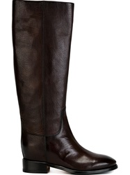 Santoni Mid Calf Boots Brown