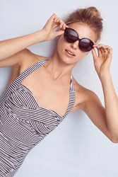 Anthropologie Seafolly Rivera Striped Boyleg One Piece Black White