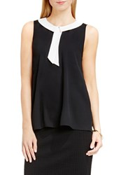 Vince Camuto Women's Contrast Collar Sleeveless Blouse Rich Black
