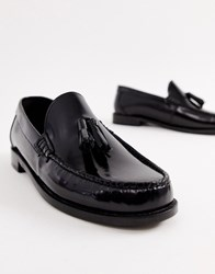 Base London Chime Tassel Loafers In High Shine Black