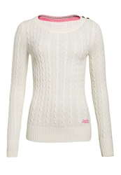 Superdry Croyde Cable Crew Jumper Cream