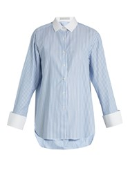 Palmer Harding Striped Cotton Shirt Light Blue
