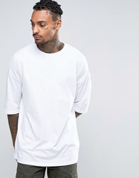 Asos Oversized Longline T Shirt In Heavyweight Jersey And Half Sleeves In White White