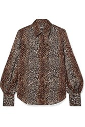 Equipment Didina Leopard Print Silk Georgette Shirt Brown