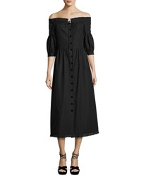 Vilshenko Off Shoulder 3 4 Sleeve Midi Dress Black