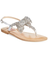 Dolce By Mojo Moxy Sienna Rhinestone Bow Flat Thong Sandals Women's Shoes Silver