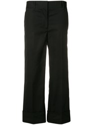 Prada Cropped Poplin Trousers Black