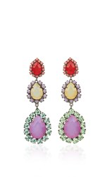 Sharra Pagano Red And Purple Crystal Earrings Multi
