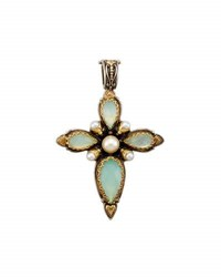 Konstantino Amphitrite Teardrop Agate And Pearl Cross Pendant Enhancer Blue
