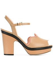 Fendi Waves Sandals Nude Neutrals