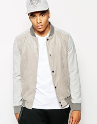 New Look Faux Suede Bomber Jacket Stone