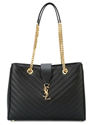 Saint Laurent 'Monogram' Shopper Tote Black