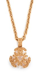 Wgaca What Goes Around Comes Around Chanel Gold Triple Cc Necklace Yellow Gold