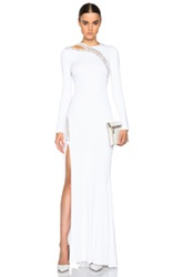 Emilio Pucci Long Sleeve Gown With Slit In White