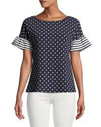 Casual Couture Striped Flutter Sleeve Polka Dot Blouse Blue White