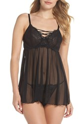 Black Bow Gretel Lace And Mesh Babydoll Nightie And G String Black