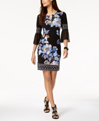 Jm Collection Chiffon Sleeve Keyhole Dress Black Delicate Bloom