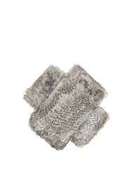 Diane Von Furstenberg Rabbit Fur Fingerless Gloves Grey