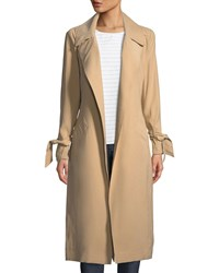 1.State Tie Sleeve Belted Trench Coat Camel