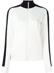 Joseph Contrast Stripe Zip Up Cardigan White