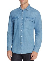 Barney Cools Worker Chambray Slim Fit Button Down Shirt Blue