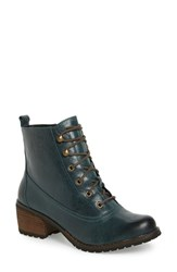 Aetrex Women's 'Skyler' Lace Up Zip Bootie Pacific Blue Leather