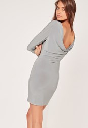 Missguided Cowl Back Slinky Bodycon Dress Silver Grey