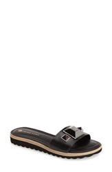 Trina Turk 'Calabasas' Leather Slide Sandal Women Black