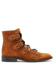 Givenchy Elegant Studded Suede Ankle Boots Tan