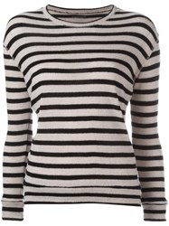 Majestic Filatures Striped Jumper Nude Neutrals