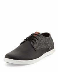 Ben Sherman Presley Tweed And Faux Leather Sneaker Black